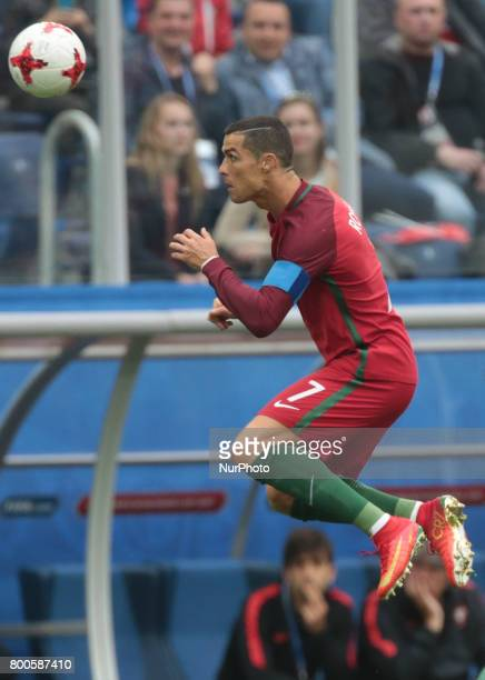 Cristiano Ronaldo of the Portugal national football team vie for the ball during the 2017 FIFA Confederations Cup match first stage Group A between...