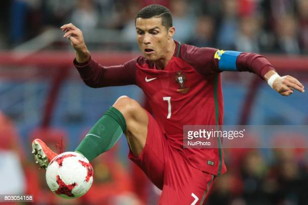 Cristiano Ronaldo of the Portugal national football team vie for the ball during the 2017 FIFA Confederations Cup match semifinals between Portugal...