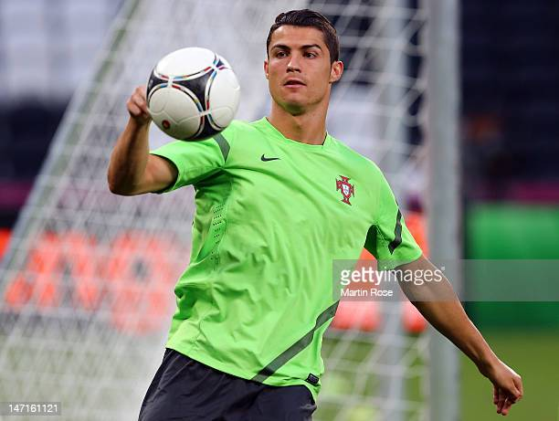 Cristiano Ronaldo plays the ball during a Portugal training session ahead of UEFA Euro 2012 SemiFinal 2012 at Donbass Arena on June 26 2012 in...