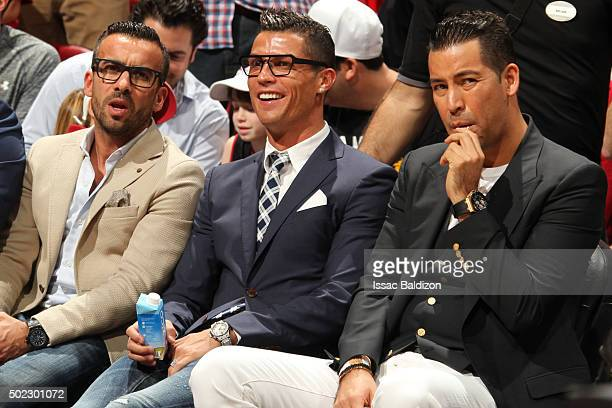 Cristiano Ronaldo Portuguese professional soccer player for Spanish club Real Madrid and the Portugal national team attends the Miami Heat against...