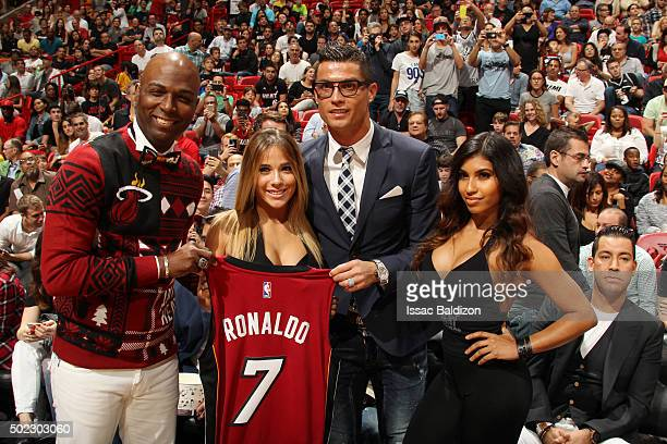 Cristiano Ronaldo Portuguese professional soccer player is honored with a Miami Heat jersey at the Miami Heat game against Detroit Pistons on...