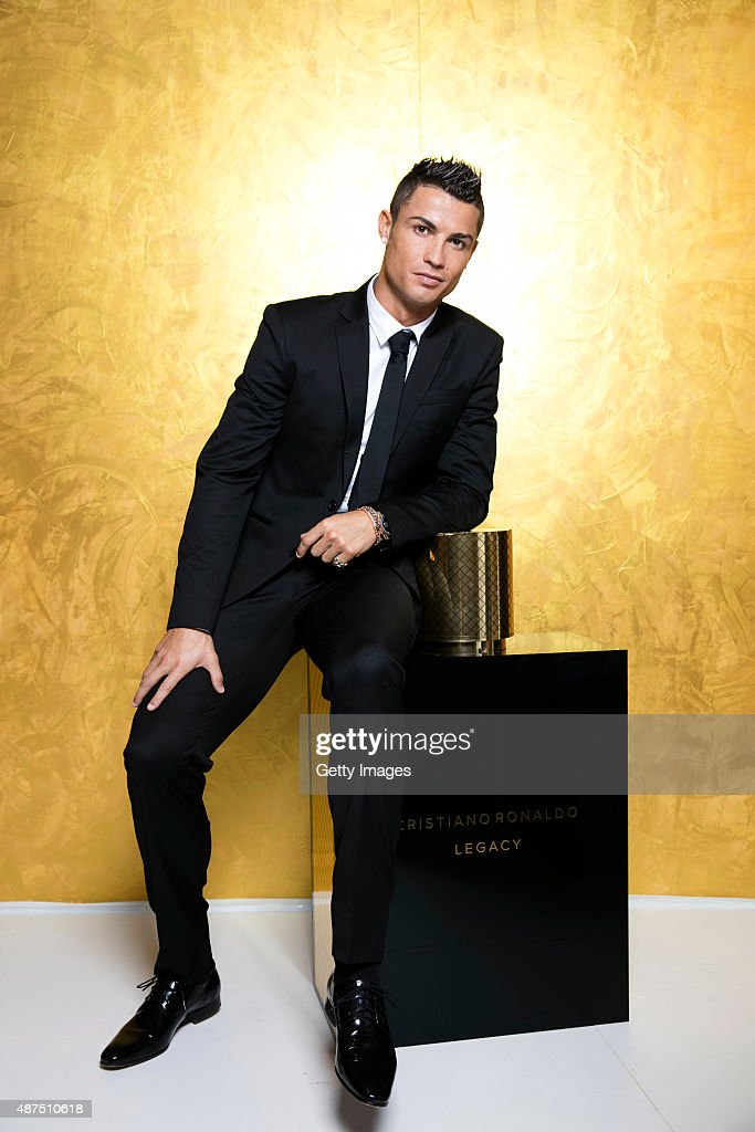 Cristiano Ronaldo poses as he unveils his debut fragrence 'Cristiano Ronaldo Legacy' at a launch party on September 9, 2015 in Madrid, Spain.