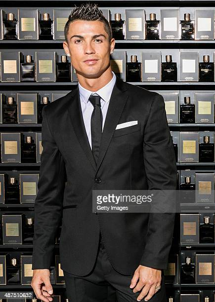 Cristiano Ronaldo poses as he unveils his debut fragrence 'Cristiano Ronaldo Legacy' at a launch party on September 9 2015 in Madrid Spain