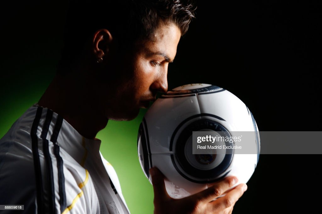 Cristiano Ronaldo poses before his official presentation as a new Real Madrid player at the Santiago Bernabeu Stadium on July 6, 2009 in Madrid, Spain.