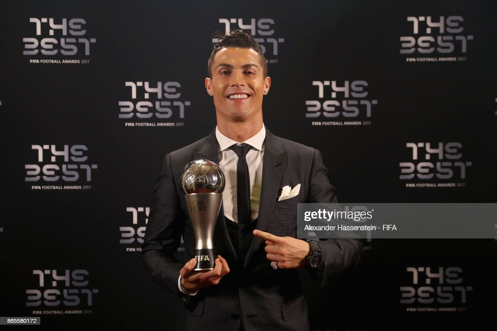 Cristiano Ronaldo poses for a photo with his The Best FIFA Men's Player award after The Best FIFA Football Awards at The London Palladium on October 23, 2017 in London, England.