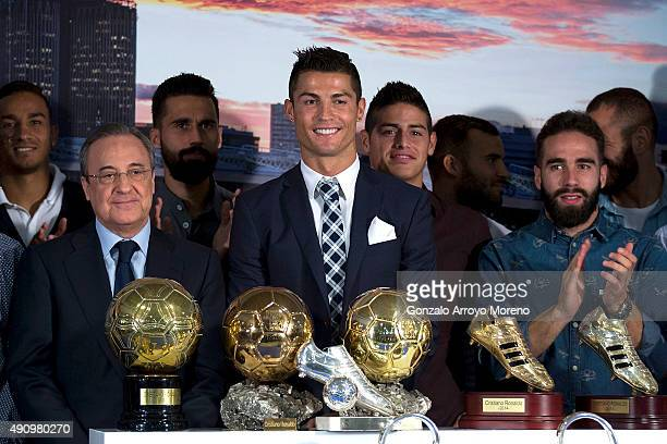 Cristiano Ronaldo poses for a picture with his trophy as alltime top scorer of Real Madrid CF all trophys won as Real Madrid players president...