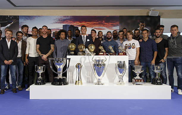Cristiano Ronaldo Poses For A Picture With His Trophy As All Time Top Scorer Of