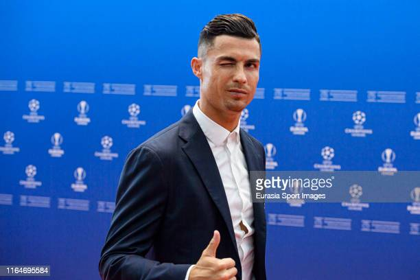 Cristiano Ronaldo poses for photos on the red carpet during the Kick-Off 2019/2020 - UEFA Champions League Draw on August 29, 2019 in Monaco, Monaco.