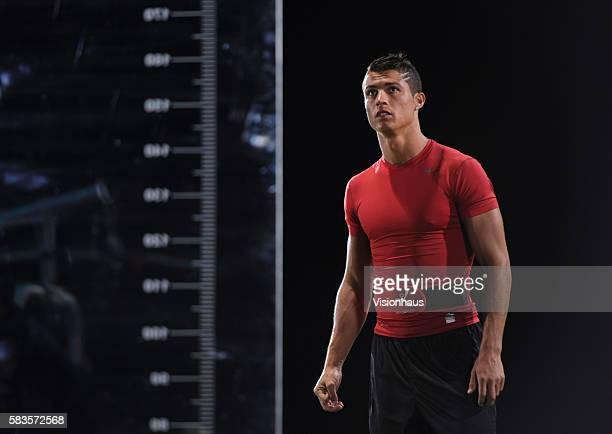 Cristiano Ronaldo prepares to have his jumping height tested during the filming of 'Ronaldo Tested to the Limit' a unique film revealing the...
