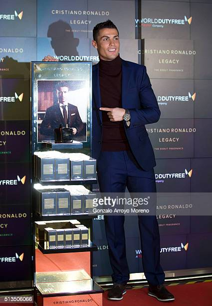 Cristiano Ronaldo presents his fragance 'Cristiano Ronaldo Legacy' at World Duty Free store at Barajas airport on March 3, 2016 in Madrid, Spain.