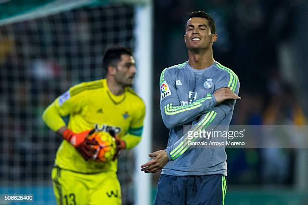 Cristiano Ronaldo reacts as he fail to score ahead goalkeeper Antonio Adan of Real Betis Balompie during the La Liga match between Real Betis...