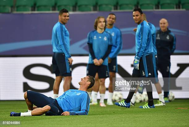Cristiano Ronaldo reacts during a Real Madrid training session ahead of their UEFA Champions League quarter final first leg match against Wolfsburg...