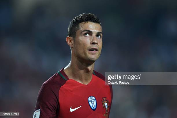 Cristiano Ronaldo reacts during the FIFA 2018 World Cup Qualifier between Portugal and Switzerland at the Luz Stadium on October 10 2017 in Lisbon...