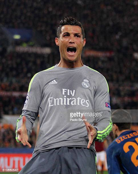 Cristiano Ronaldo reacts during the UEFA Champions League round of 16 first leg match between AS Roma and Real Madrid CF at Stadio Olimpico on...