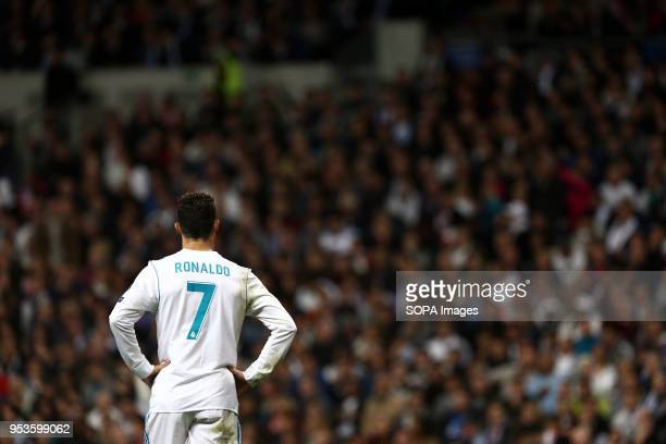 Cristiano Ronaldo reacts during the UEFA Champions League Semi Final Second Leg match between Real Madrid and Bayern Munchen at the Santiago...