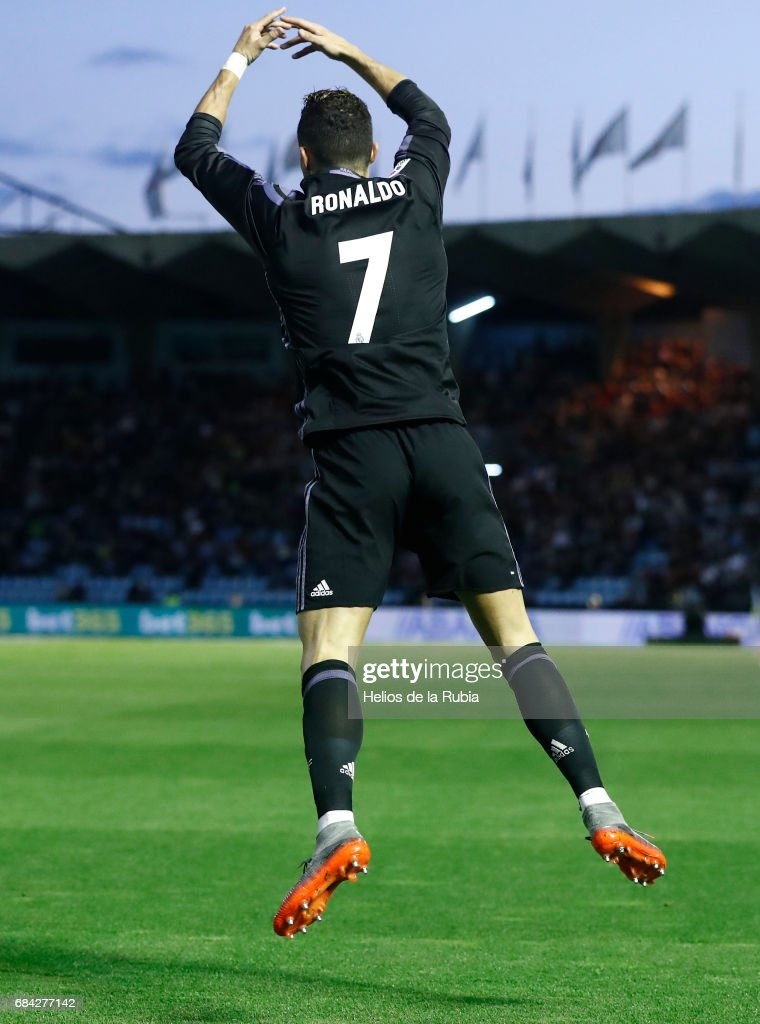 Cristiano Ronaldo Real Madrid celebrates after scoring during the La Liga match between RC Celta de Vigo and Real Madrid CF at Estadio Balaidos on May 17, 2017 in Vigo, Spain.