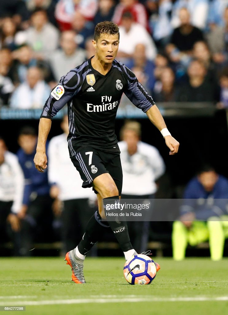 Cristiano Ronaldo Real Madrid in action during the La Liga match between RC Celta de Vigo and Real Madrid CF at Estadio Balaidos on May 17, 2017 in Vigo, Spain.