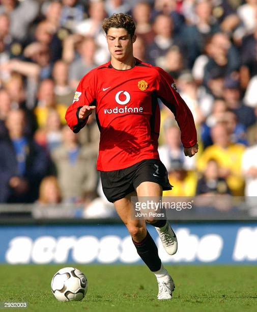 Cristiano Ronaldo runs with the ball during the FA Barclaycard Premiership match between Leeds United v Manchester United at Elland Road on October...