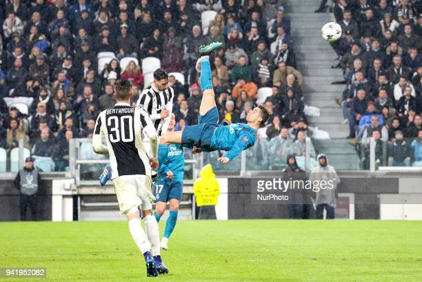 Cristiano Ronaldo scores a wonderful overhead during the first leg of the quarter finals of the UEFA Champions League 2017/18 between Juventus FC and...