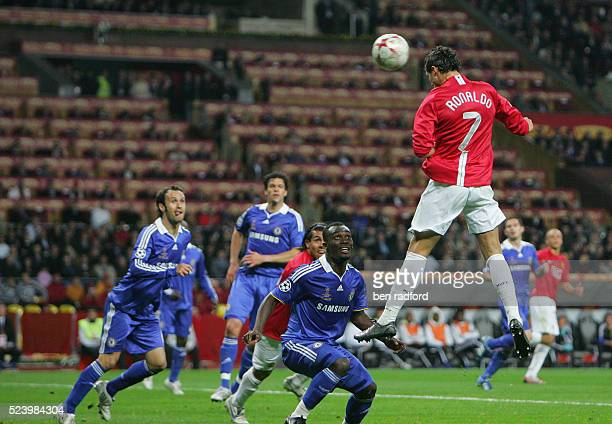 Cristiano Ronaldo scores for Manchester United during the UEFA Champions League Final between Chelsea and Manchester United at the Luzhniki Stadium...