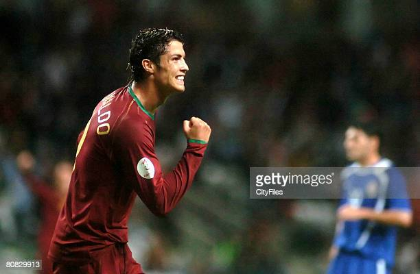 Cristiano Ronaldo scores the first goal during a Euro 2008 qualifying match between Portugal and Azerbaijan at Bessa XXI Stadium in Porto, Portugal...
