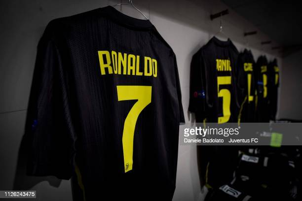 Cristiano Ronaldo shirt hangs inside the Juventus dressing room before the UEFA Champions League Round of 16 First Leg match between Club Atletico de...
