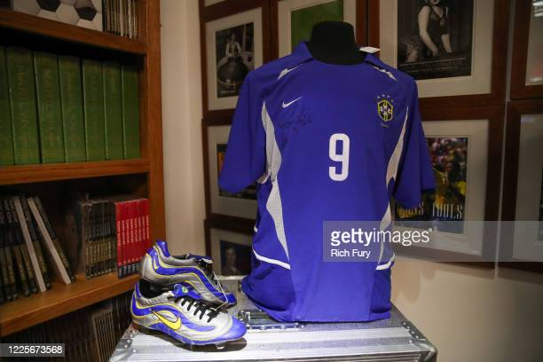 Cristiano Ronaldo signed and game worn items are displayed at a press preview for sports legends featuring Kobe Bryant, FIFA and Olympic Medals at...
