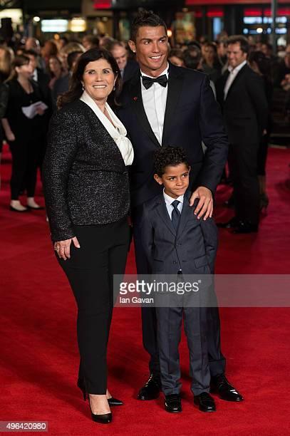"Cristiano Ronaldo, son Cristiano Ronaldo Jr and mother Maria Dolores Aveiro attend the World Premiere of ""Ronaldo"" at Vue West End on November 9,..."