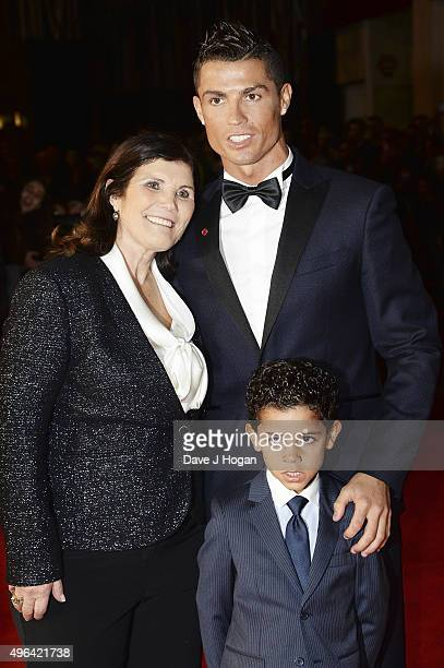 Cristiano Ronaldo son Cristiano Ronaldo Jr and mother Maria Dolores Aveiro attend the World Premiere of 'Ronaldo' at Vue West End on November 9 2015...