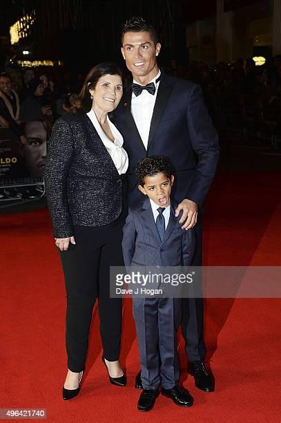 Cristiano Ronaldo son Cristiano Ronaldo Jr and mother Maria Dolores Aveiro attend the World Premiere of 'Ronaldo' at Vue West End on November 9 2015...