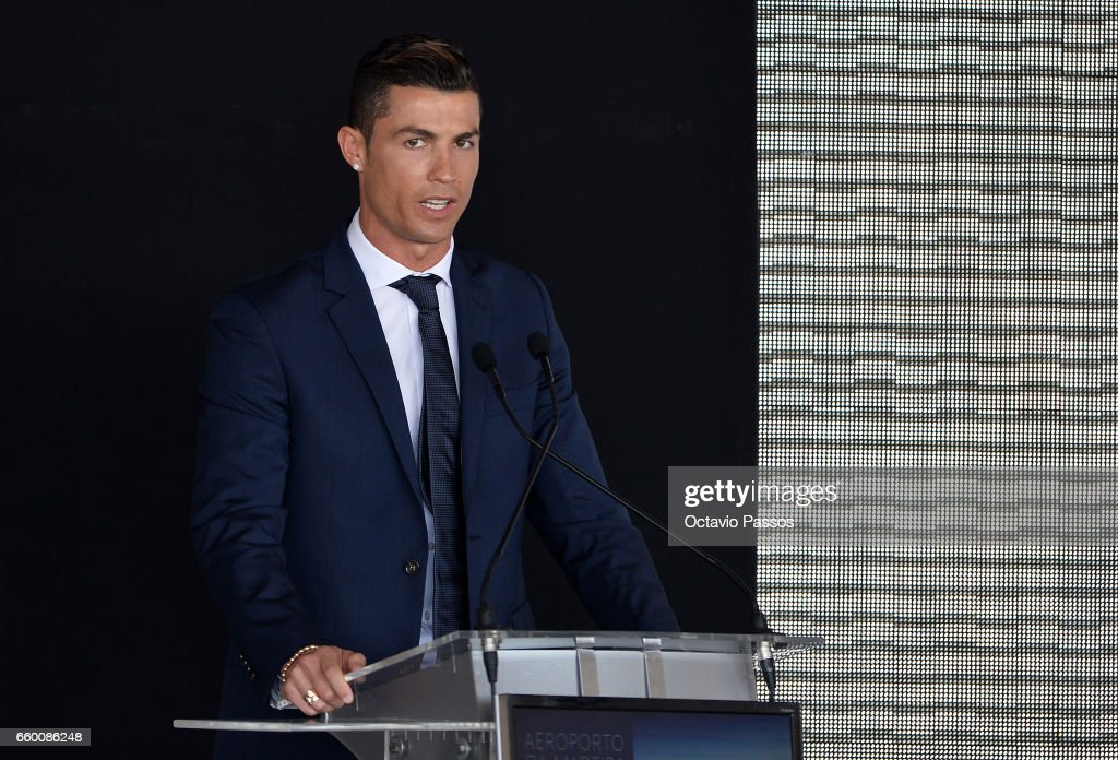 Cristiano Ronaldo speaks during the ceremony at Madeira Airport to rename it Cristiano Ronaldo Airport on March 29, 2017 in Santa Cruz, Madeira, Portugal.
