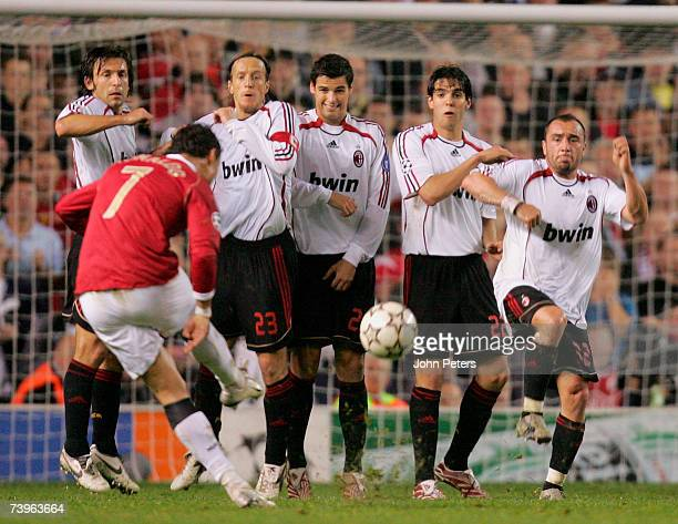 Cristiano Ronaldo takes a free kick during the UEFA Champions League SemiFinal first leg match between Manchester United and AC Milan at Old Trafford...
