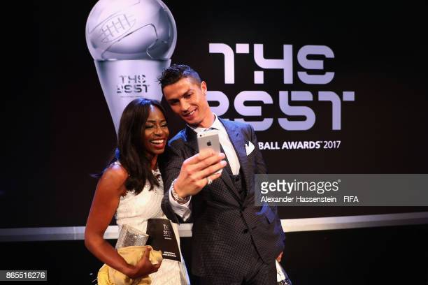 Cristiano Ronaldo takes a selfie after The Best FIFA Football Awards at The London Palladium on October 23 2017 in London England
