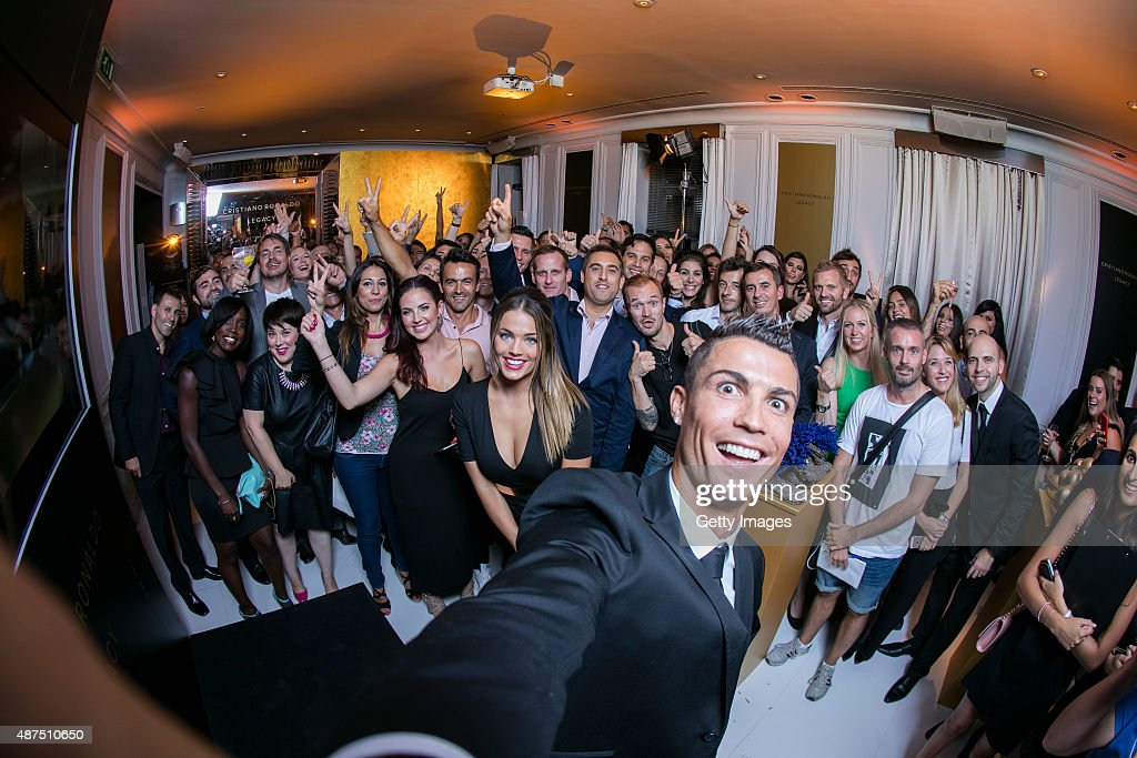 Cristiano Ronaldo takes a selfie as he unveils his debut fragrence 'Cristiano Ronaldo Legacy' at a launch party on September 9, 2015 in Madrid, Spain.