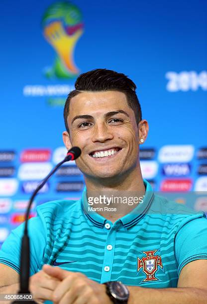 Cristiano Ronaldo talks to the media during the Portugal press conference ahead of the 2014 FIFA World Cup Group G match between Germany and Portugal...