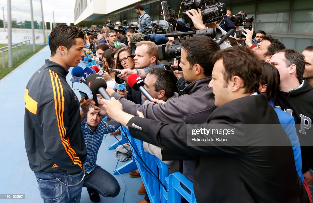 Cristiano Ronaldo talks to the media during the Real Madrid UEFA Champions League Final Media Day at Valdebebas training ground on May 20, 2014 in Madrid, Spain.