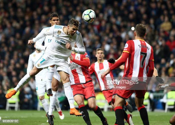 Cristiano Ronaldo top of the head during the match between Real Madrid and Girona FC at Estadio Santiago Bernabéu. Final score .