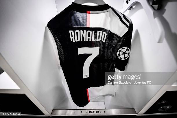 Cristiano Ronaldo t-shirt in the Juventus dressing room before the UEFA Champions League group D match between Juventus and Lokomotiv Moskva at...