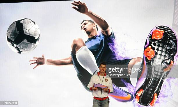 Cristiano Ronaldo unveils the new Nike Mercurial Vapor Superfly II boots he will wear for the rest of the domestic season and at the World Cup inside...
