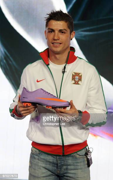Cristiano Ronaldo unveils the new Nike Mercurial Vapor Superfly II boots he will wear for the rest of the domestic season, and at the World Cup,...