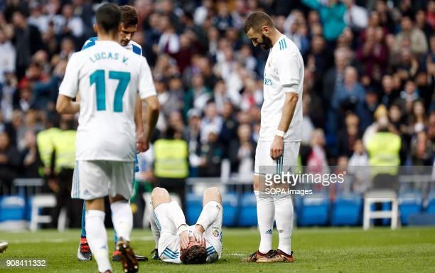 Cristiano Ronaldo was injured after scoring his second goal. Real Madrid faced Deportivo de la Coruña at the Santiago Bernabeu stadium during the...