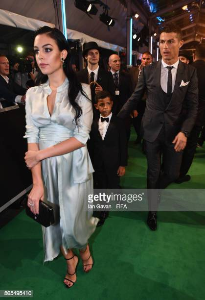 Cristiano Ronaldo with girlfriend Georgina Rodríguez and son Cristiano Ronaldo Jr arrives on the green carpet for The Best FIFA Football Awards at...