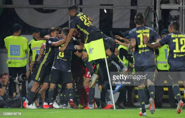 Cristiano Ronaldo with his teammates of Juventus celebrates after scoring the opening goal during the serie A match between Frosinone Calcio and...