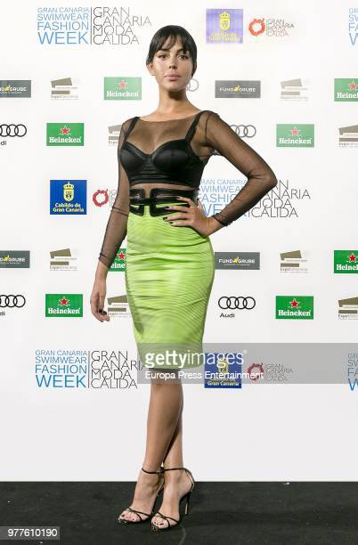 Cristiano Ronaldo's girlfriend Georgina Rodriguez attends Gran Canaria Moda Calida Swimwear Fashion Week on June 16 2018 in Las Palmas de Gran...