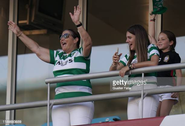 Cristiano Ronaldo's mother Dolores Aveiro before the start of the Portuguese SuperCup match between SL Benfica and Sporting CP at Estadio Algarve on...