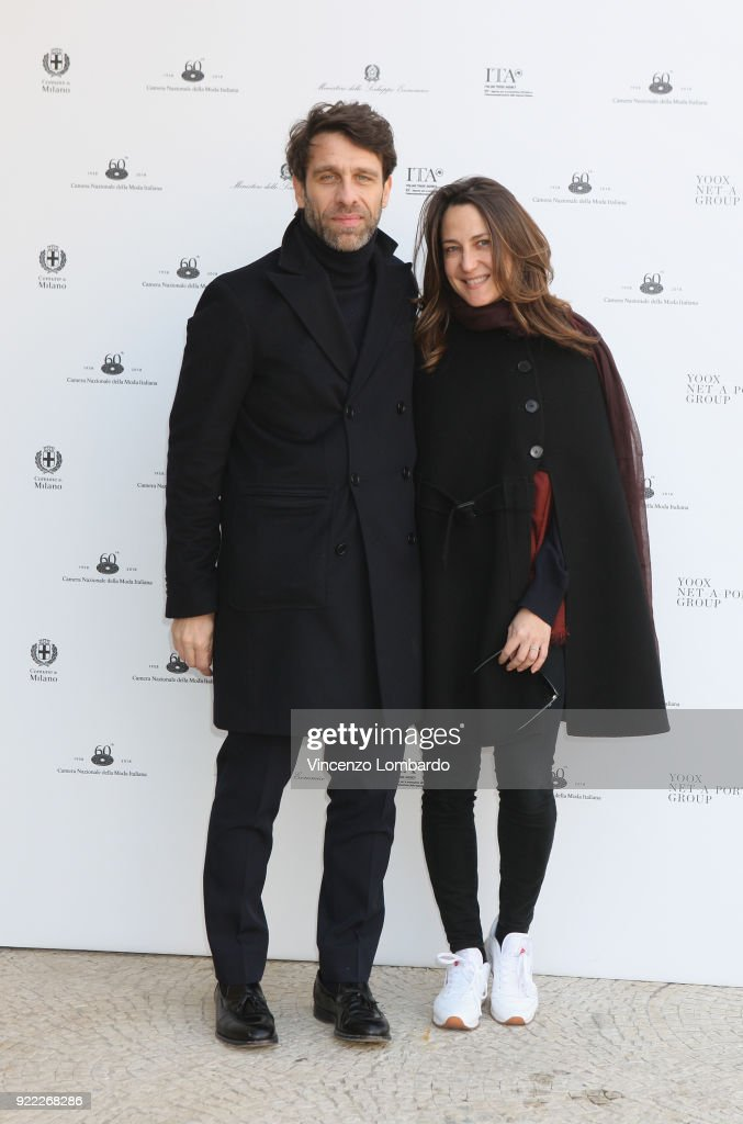 Cristiano Seganfreddo and guest attend 'Italiana. L'Italia Vista Dalla Moda 1971-2001' exhibition preview during Milan Fashion Week Fall/Winter 2018/19 at Palazzo Reale on February 21, 2018 in Milan, Italy.