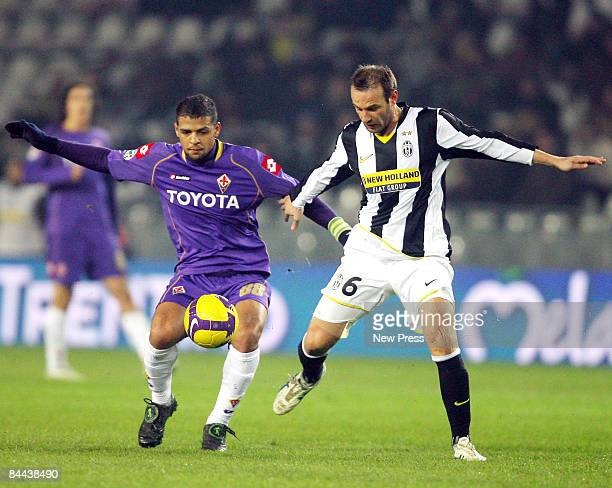 Cristiano Zanetti of Juventus and Felipe Melo of Fiorentina in action during the Serie A match between Juventus and Fiorentina at the Olimpico Stadio...