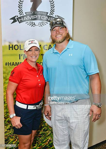 Cristie Kerr and Nick Mangold attend the Hampton Hills Golf Country Club on June 24 2013 in Riverhead New York