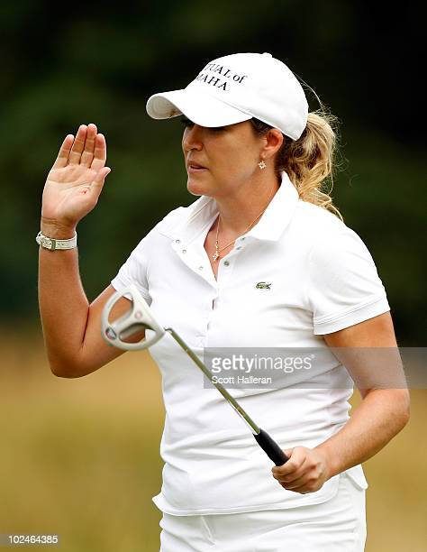 Cristie Kerr celebrates a birdie putt on the seventh green during the final round of the LPGA Championship presented by Wegmans 2010 at the Locust...