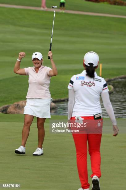 Cristie Kerr celebrates alongside SuYeon Jang of Republic of Korea after winning the LPGA LOTTE Championship Presented By Hershey at Ko Olina Golf...